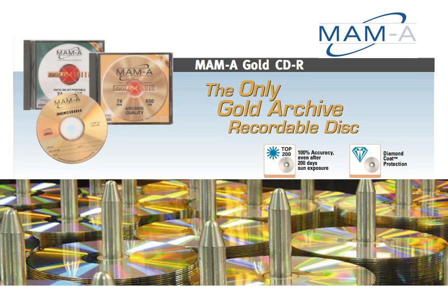 MAM-A Gold CD-R and DVD Optical Media from Mitsui Advanced Media