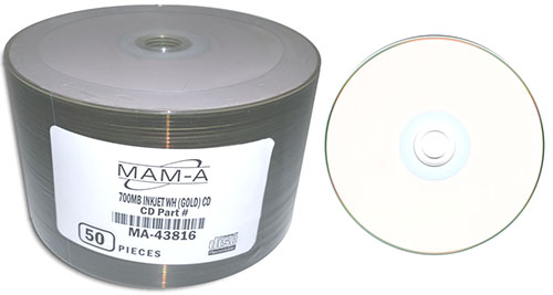 MAM-A 43816 GOLD CD-R 700MB White InkJet 100-Stack from Am-Dig
