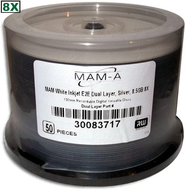 MAM-A 83717: DVD+R/DL 8.5GB InkJet White Hub Print from Am-Dig