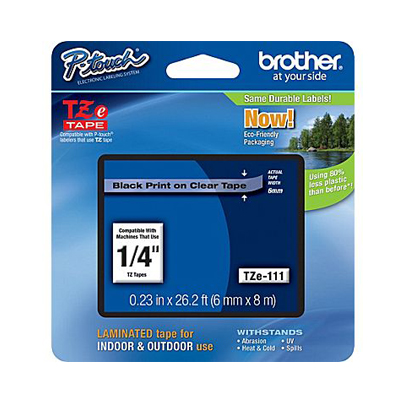 Brother TZE111: Label Tape, Clear 0.25