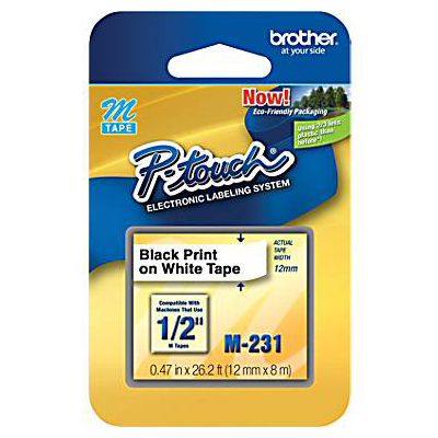 Brother M231: Label Tape, White, 0.50 ft x 26.2 ft