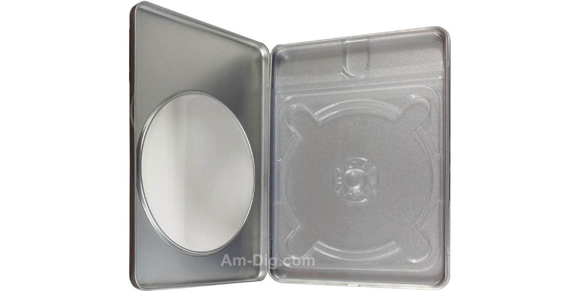 Images of the Tin DVD/CD Case Rectangular with Window Clear Tray