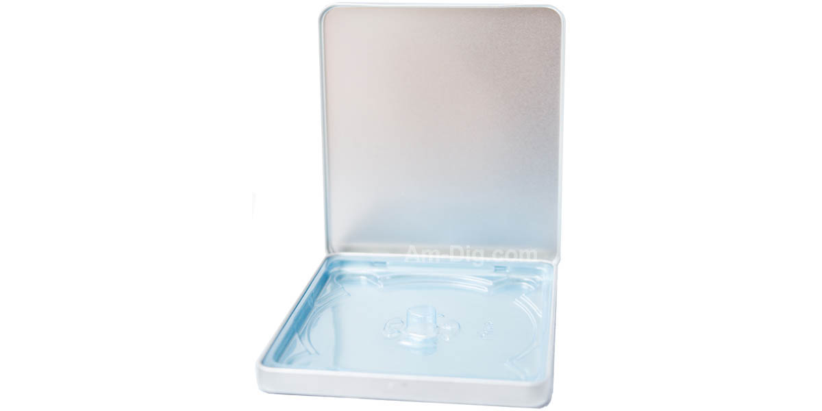 Images of the Tin CD/DVD Case Square Style no Window Blue Tray
