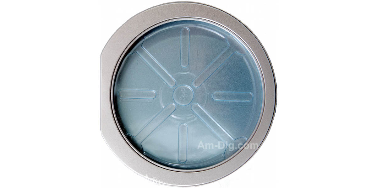 Tin CD/DVD Case Round D-Shape w/ Window Blue Tray - Front View