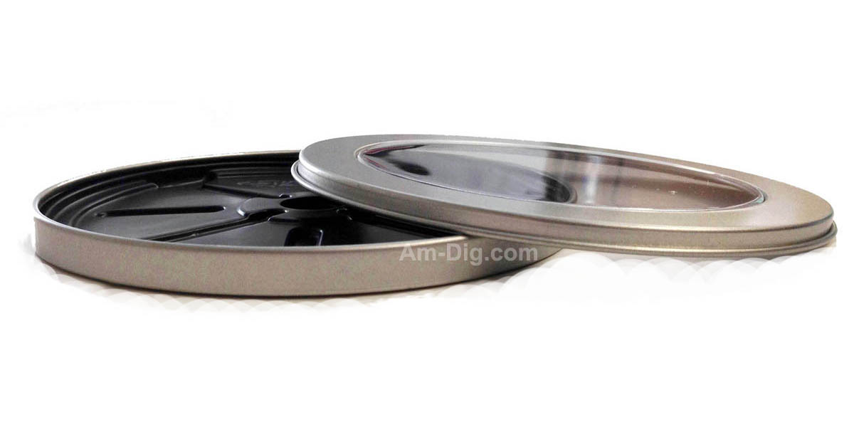 Tin CD/DVD Case Round Shape no Hinge with Window - Side View