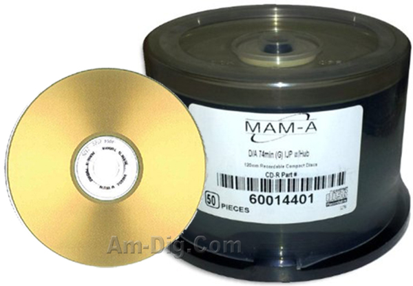 MAM-A 14401: GOLD CD-R DA-74 Gold Inkjet Printable from Am-Dig