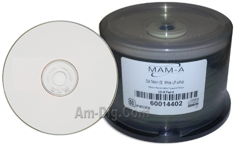 MAM-A 14402 GOLD CD-R DA-74 White Inkjet Printable from Am-Dig