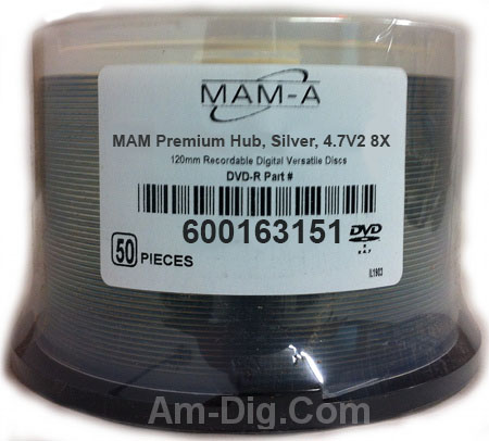 MAM-A 163151: Medical DVD-R 4.7GB Logo 50-Cakebox from Am-Dig