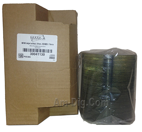 MAM-A 41130: CD-R 650MB Silver InkJet in Bulk Pack from Am-Dig