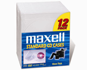 Maxell CD-360 Storage Case Jewel Box Clear 12pk