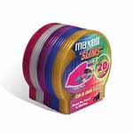 Maxell CD Storage Case, Slims, Color, 20pk