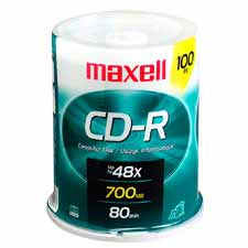 Maxell 648200 CD-R 700MB 80 min Branded 48x 100pk