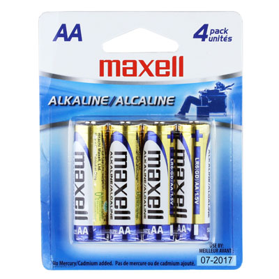 Maxell Alkaline Batteries AA, Cell LR6 4BP, 4PK