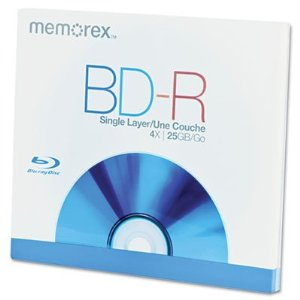 Memorex Blu-ray, 25GB, 4X, Single Layer, Write Once, Si