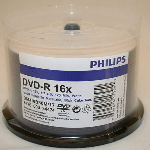 Philips Dupl DVD-R 16x White Inkjet Metalised Hub from Am-Dig