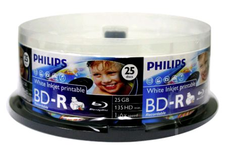 Philips BD-R 25GB 6x White InkJet in Cakebox from Am-Dig
