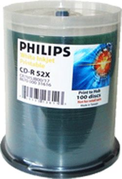 Philips CR7H5JB00/17 CDR White Inkjet 100-Cakebox  from Am-Dig