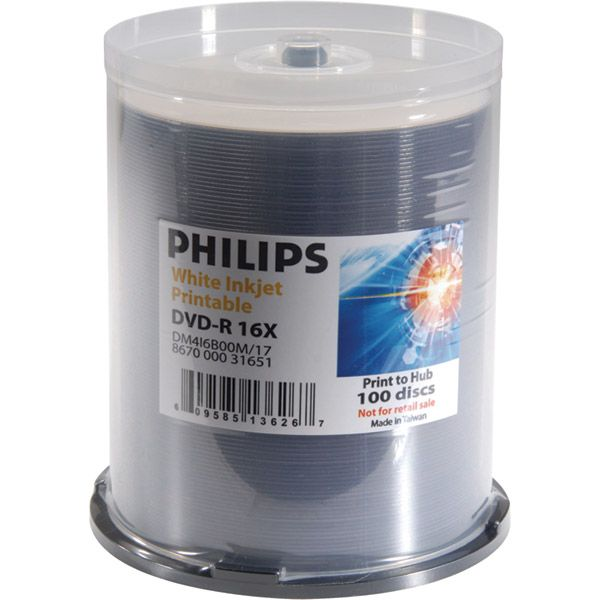 Philips DM4I6B00M/17 DVDR 16x White Inkjet Cakebox from Am-Dig
