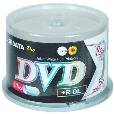 Ritek DL DVD+R 8X White Inkjet Hub Printable from Am-Dig