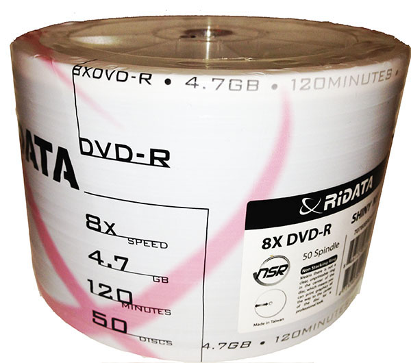 Ridata/Ritek Shiny Silver 8x DVD-R Spindle from Am-Dig
