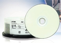 TDK Blu-ray, Single Layer, 25GB, WHT IJ Pro Hub Printab