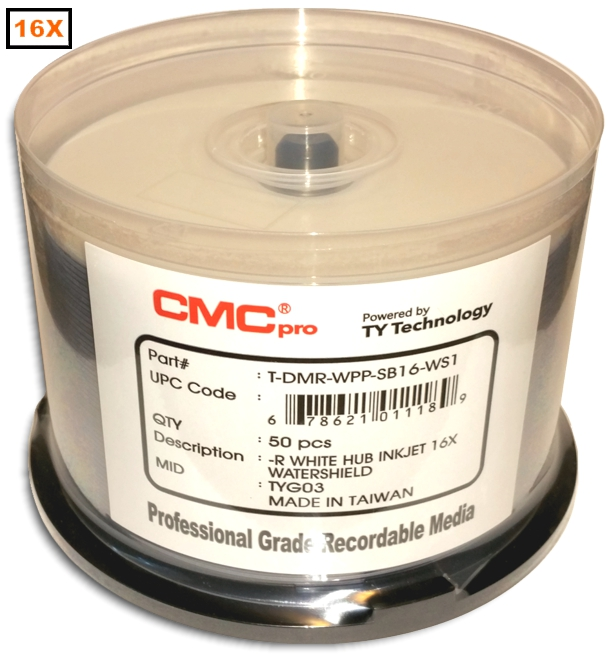 Taiyo Yuden / CMC Water Shield White 16x DVD-R from Am-Dig