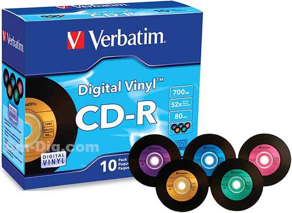 Verbatim 94439: CD-R 80min 52x Digital Vinyl 10 Pk from Am-Dig
