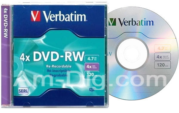 Verbatim 94836 DVD-RW 4.7GB 4x With Jewel-1pk Slim from Am-Dig
