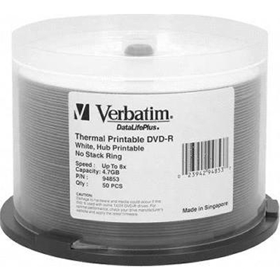 Verbatim 94853 DVD-R 4.7GB 8x White Thermal-50pk from Am-Dig