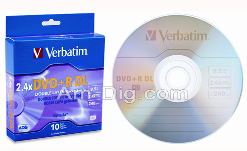 Verbatim 95166: DVD+R Dual Layer 8.5GB 2.4x - 6x from Am-Dig