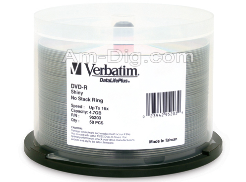 Verbatim 95203 DVD-R 4.7GB 16x Silver Silk Screen