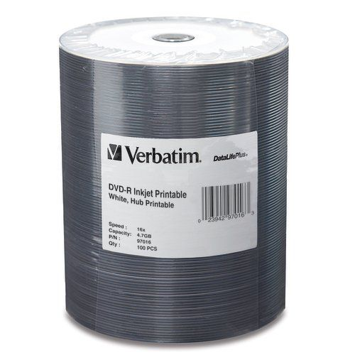 Verbatim 97016 DVD-R16x White Inkjet Hub 100-Stack from Am-Dig
