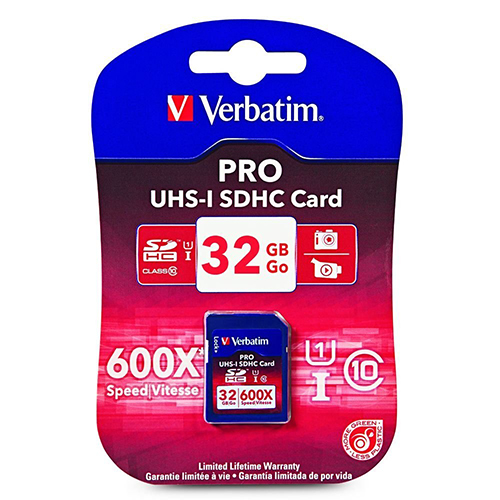 Verbatim 98047:  Pro SDHC Memory Card, 32GB, 600X from Am-Dig