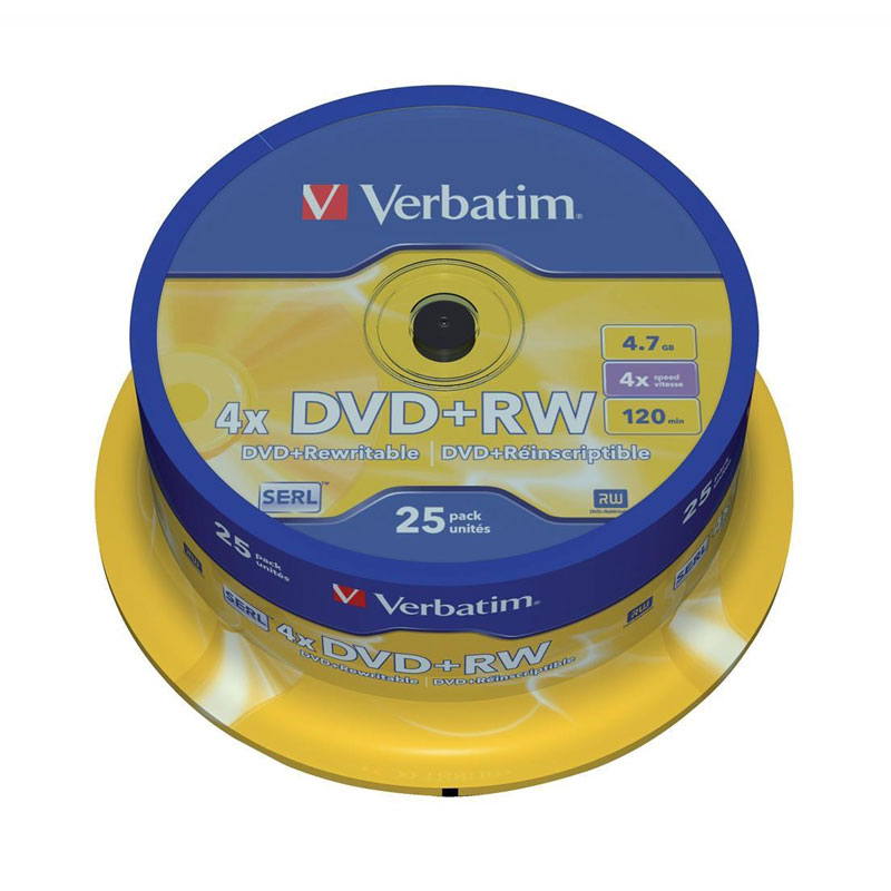 Verbatim 43489 DVD+RW 4.7GB 4X DataLifePlus Branded 25pk Spindle TAA from Am-Dig