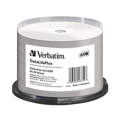 Verbatim 43754 DVD+R DL 8.5GB 8X DataLifePlus White Thermal Printable 50pk Spindle from Am-Dig
