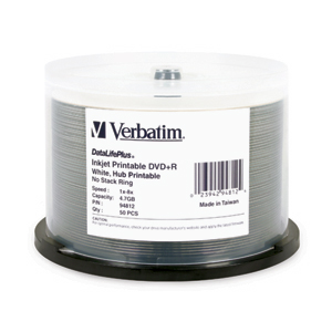 Verbatim 94812 Inkjet White 8x DVD+R (plus) from Am-Dig