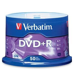 Verbatim 95037 AZO DVD+R 4.7GB 16x 50pk Spindle