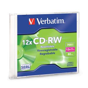 Verbatim 95161 CD-RW 700MB 4x-12x in Slim Case from Am-Dig