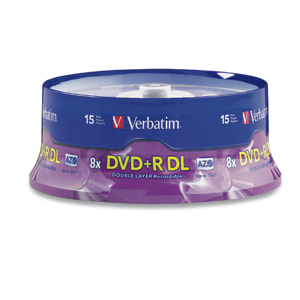 Verbatim 95484 DVD+R DL 8.5GB 2.4x 15pk BRANDED from Am-Dig