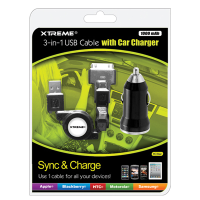 Xtreme 88212: Cable 3-in-1 USB Cable & Car Charger